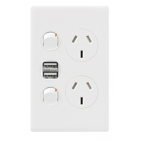 Excel Life Dedicated Plate Series Vertical Double Powerpoint + USB Charger