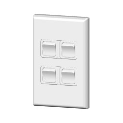 PDL 684 Four gang switch 20amp White - Electrical Wholesale