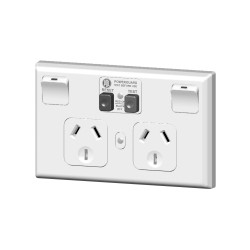 PDL 695RCD-10 Horizontal double power point with 10mA RCD White
